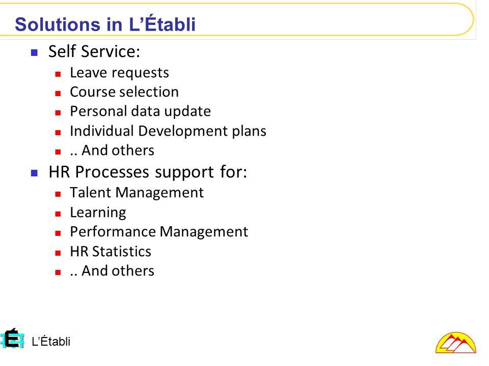 L'Établi Self Service: Leave requests Course selection Personal data update Individual Development plans..