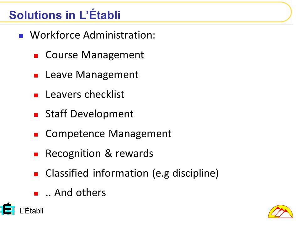 L'Établi Workforce Administration: Course Management Leave Management Leavers checklist Staff Development Competence Management Recognition & rewards Classified information (e.g discipline)..