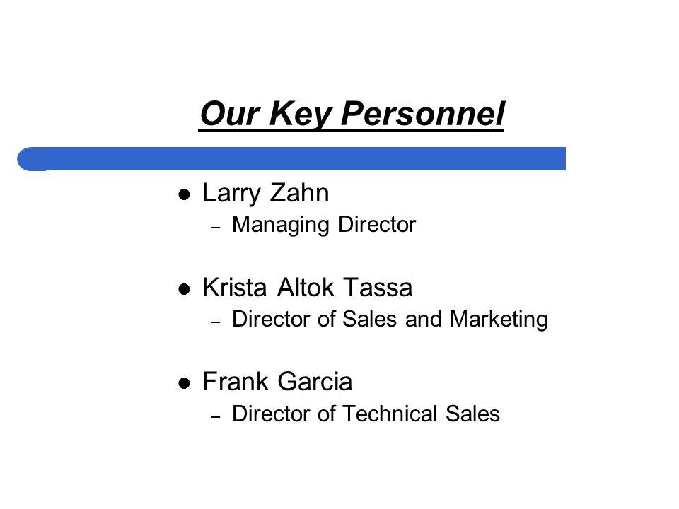 Our Key Personnel Larry Zahn – Managing Director Krista Altok Tassa – Director of Sales and Marketing Frank Garcia – Director of Technical Sales