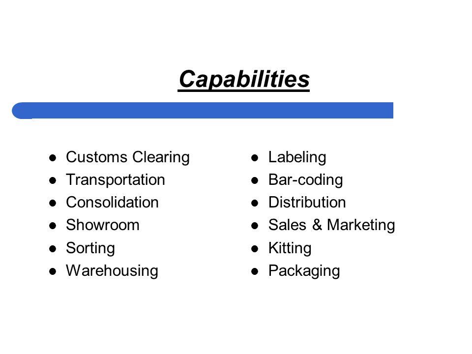 Capabilities Customs Clearing Transportation Consolidation Showroom Sorting Warehousing Labeling Bar-coding Distribution Sales & Marketing Kitting Packaging