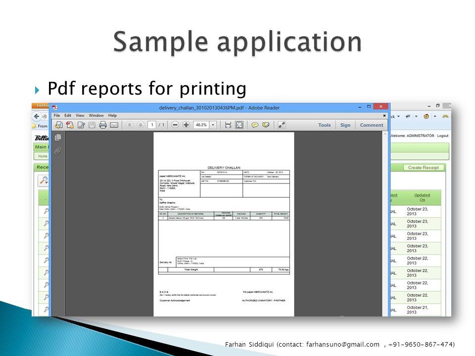  Pdf reports for printing Farhan Siddiqui (contact: farhansuno@gmail.com, +91-9650-867-474)