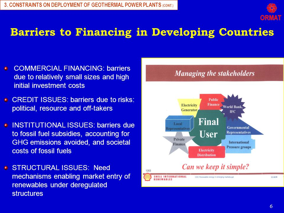 6 Barriers to Financing in Developing Countries COMMERCIAL FINANCING: barriers due to relatively small sizes and high initial investment costs CREDIT ISSUES: barriers due to risks: political, resource and off-takers INSTITUTIONAL ISSUES: barriers due to fossil fuel subsidies, accounting for GHG emissions avoided, and societal costs of fossil fuels STRUCTURAL ISSUES: Need mechanisms enabling market entry of renewables under deregulated structures 3.
