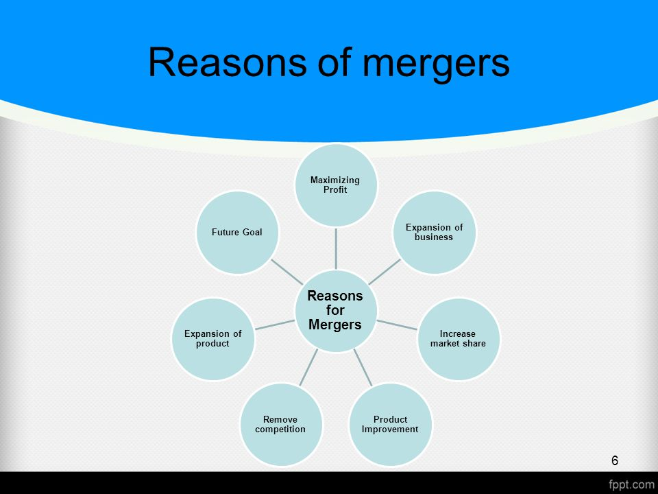 Reasons of mergers Reasons for Mergers Maximizing Profit Expansion of business Increase market share Product Improvement Remove competition Expansion of product Future Goal 6