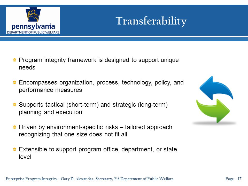 Transferability Page – 17 Program integrity framework is designed to support unique needs Encompasses organization, process, technology, policy, and performance measures Supports tactical (short-term) and strategic (long-term) planning and execution Driven by environment-specific risks – tailored approach recognizing that one size does not fit all Extensible to support program office, department, or state level Enterprise Program Integrity – Gary D.