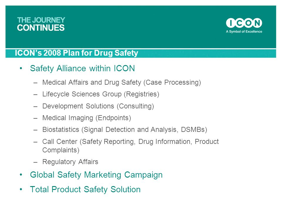 ICON's 2008 Plan for Drug Safety Safety Alliance within ICON –Medical Affairs and Drug Safety (Case Processing) –Lifecycle Sciences Group (Registries)