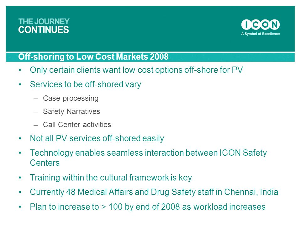 Off-shoring to Low Cost Markets 2008 Only certain clients want low cost options off-shore for PV Services to be off-shored vary –Case processing –Safe