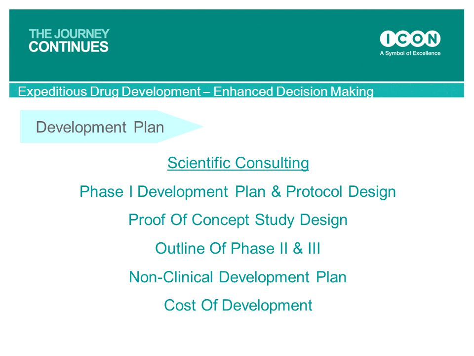 Development Plan Scientific Consulting Phase I Development Plan & Protocol Design Proof Of Concept Study Design Outline Of Phase II & III Non-Clinical