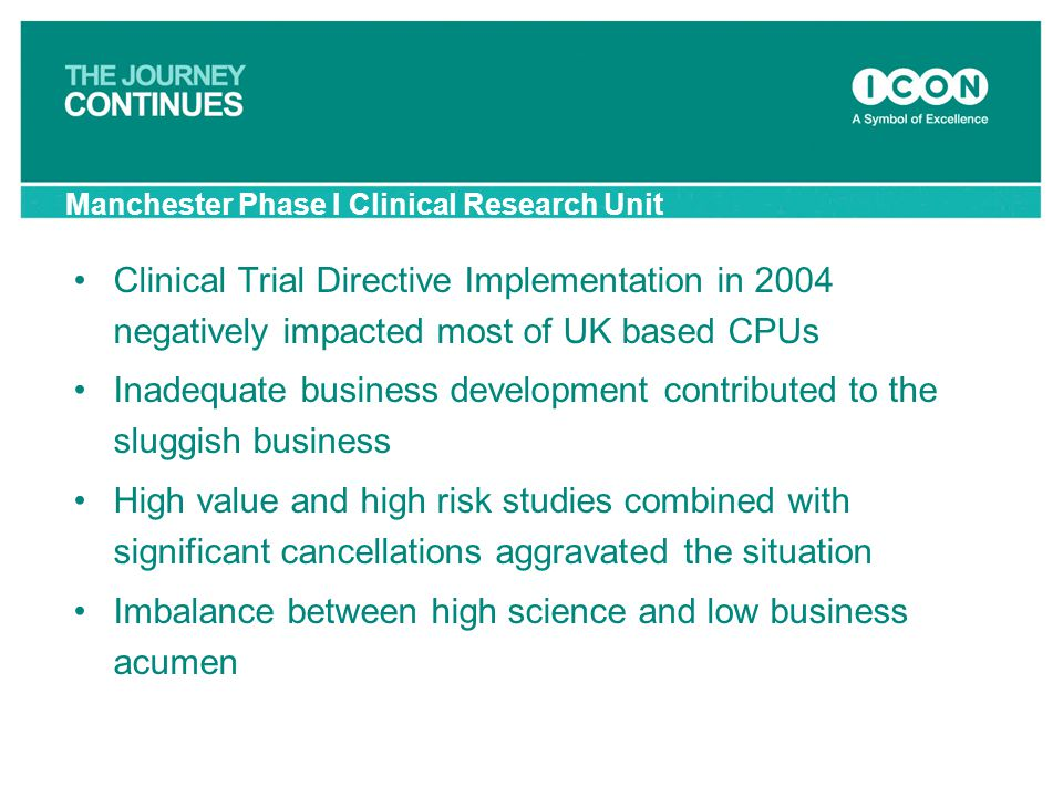 Manchester Phase I Clinical Research Unit Clinical Trial Directive Implementation in 2004 negatively impacted most of UK based CPUs Inadequate busines