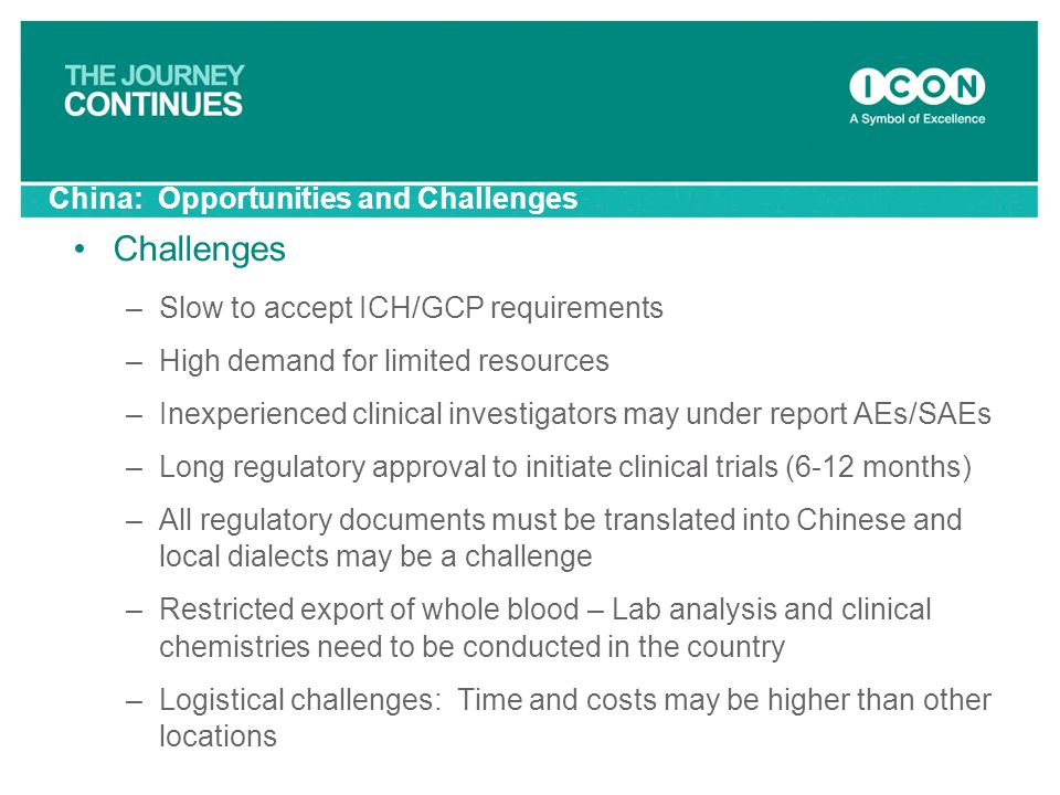 China: Opportunities and Challenges Challenges –Slow to accept ICH/GCP requirements –High demand for limited resources –Inexperienced clinical investi