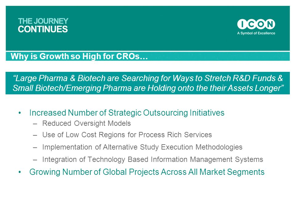 Increased Number of Strategic Outsourcing Initiatives –Reduced Oversight Models –Use of Low Cost Regions for Process Rich Services –Implementation of