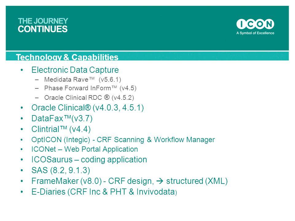 Electronic Data Capture –Medidata Rave™ (v5.6.1) –Phase Forward InForm™ (v4.5) –Oracle Clinical RDC ® (v4.5.2) Oracle Clinical® (v4.0.3, 4.5.1) DataFa