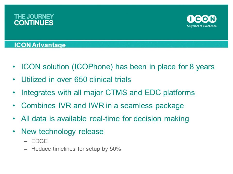 ICON solution (ICOPhone) has been in place for 8 years Utilized in over 650 clinical trials Integrates with all major CTMS and EDC platforms Combines