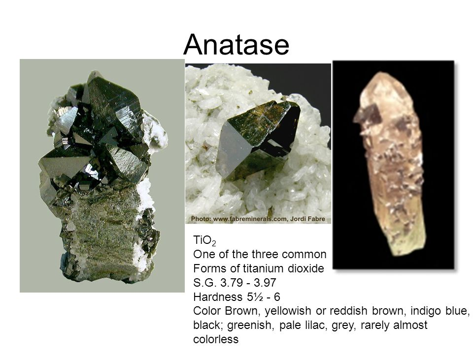 Anatase TiO 2 One of the three common Forms of titanium dioxide S.G.