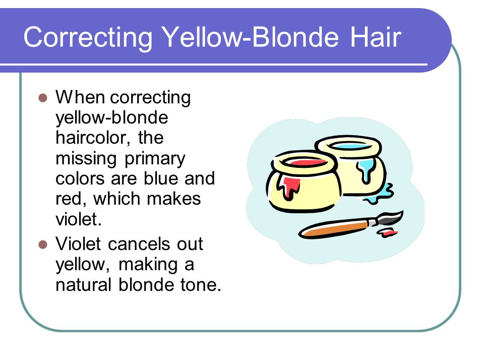 Correcting Orange Tone Hair Orange haircolor (red and yellow primary) is missing blue to make a natural tone.