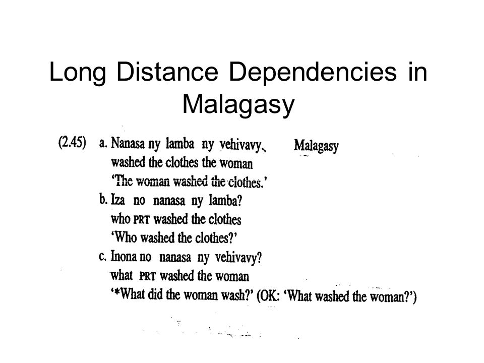 Long Distance Dependencies in Malagasy