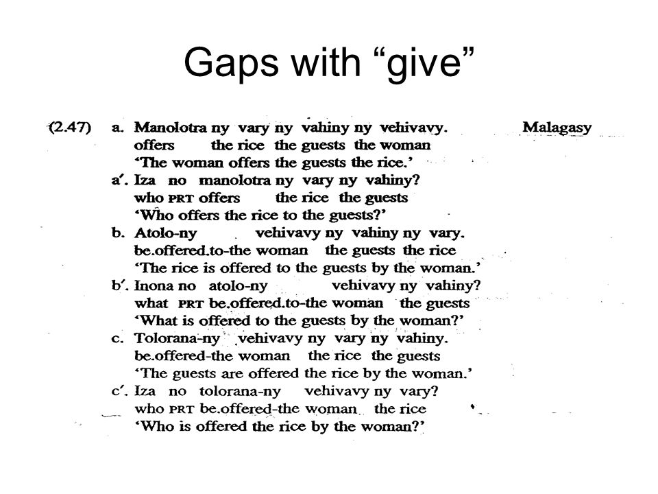 Gaps with give