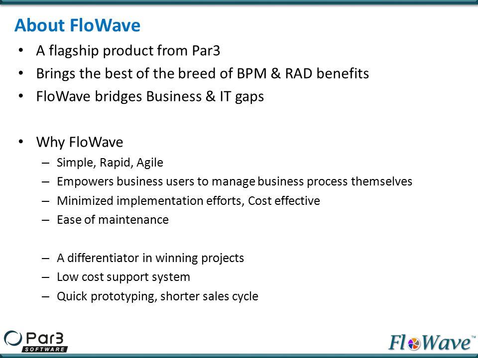 FloWave Solution Segments Prototyping Tool Business Process Management Iterative Development Rapid Application Development Build Workflow application Build Web application Package Application