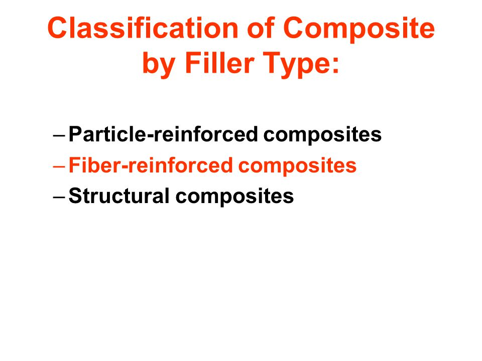 Classification of Composite by Filler Type: –Particle-reinforced composites –Fiber-reinforced composites –Structural composites