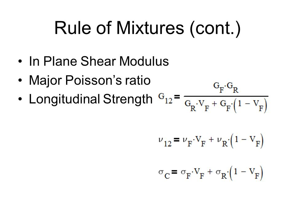 In Plane Shear Modulus Major Poisson's ratio Longitudinal Strength Rule of Mixtures (cont.)