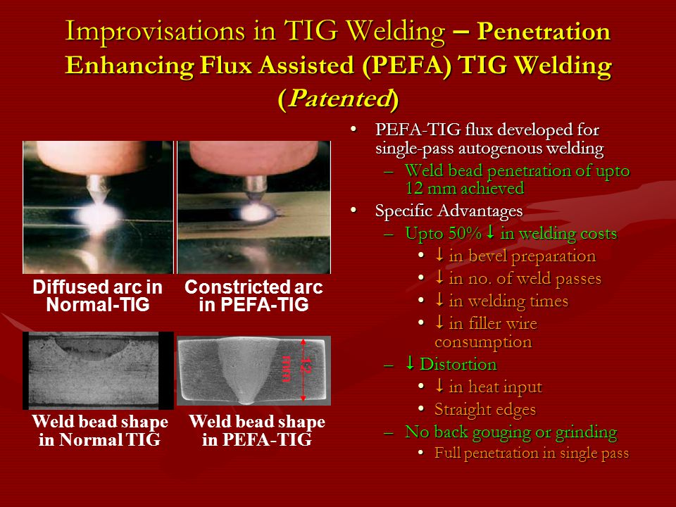 Improvisations in TIG Welding – Penetration Enhancing Flux Assisted (PEFA) TIG Welding (Patented) PEFA-TIG flux developed for single-pass autogenous w