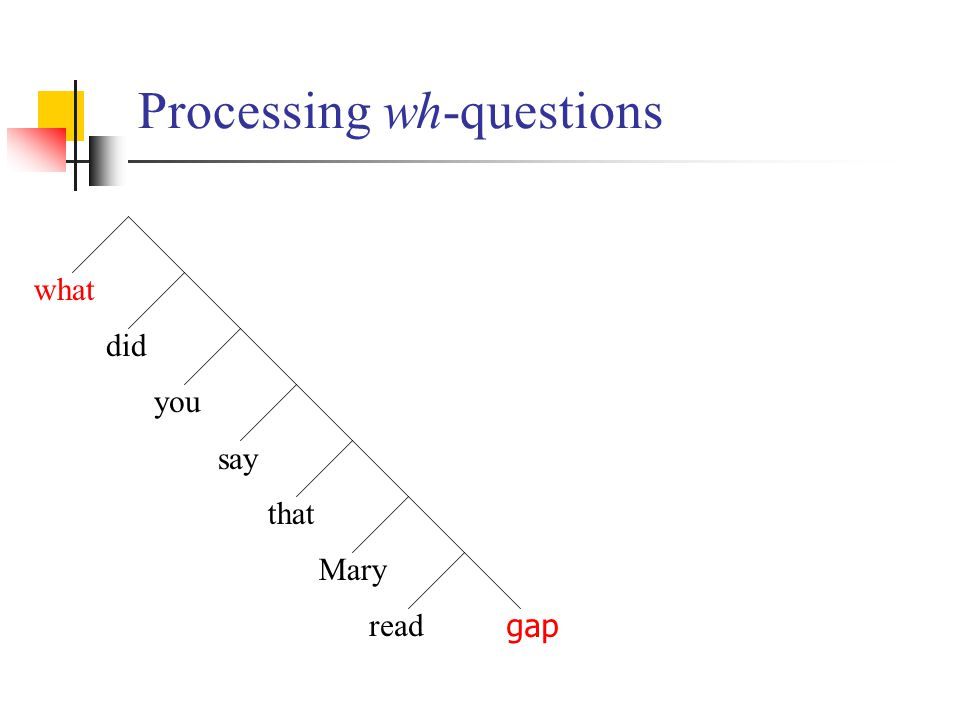 Processing wh-questions what did you say gap that Mary read