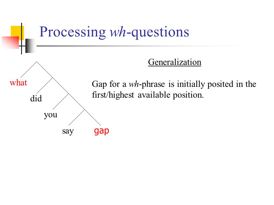 Processing wh-questions what did you say gap Generalization Gap for a wh-phrase is initially posited in the first/highest available position.