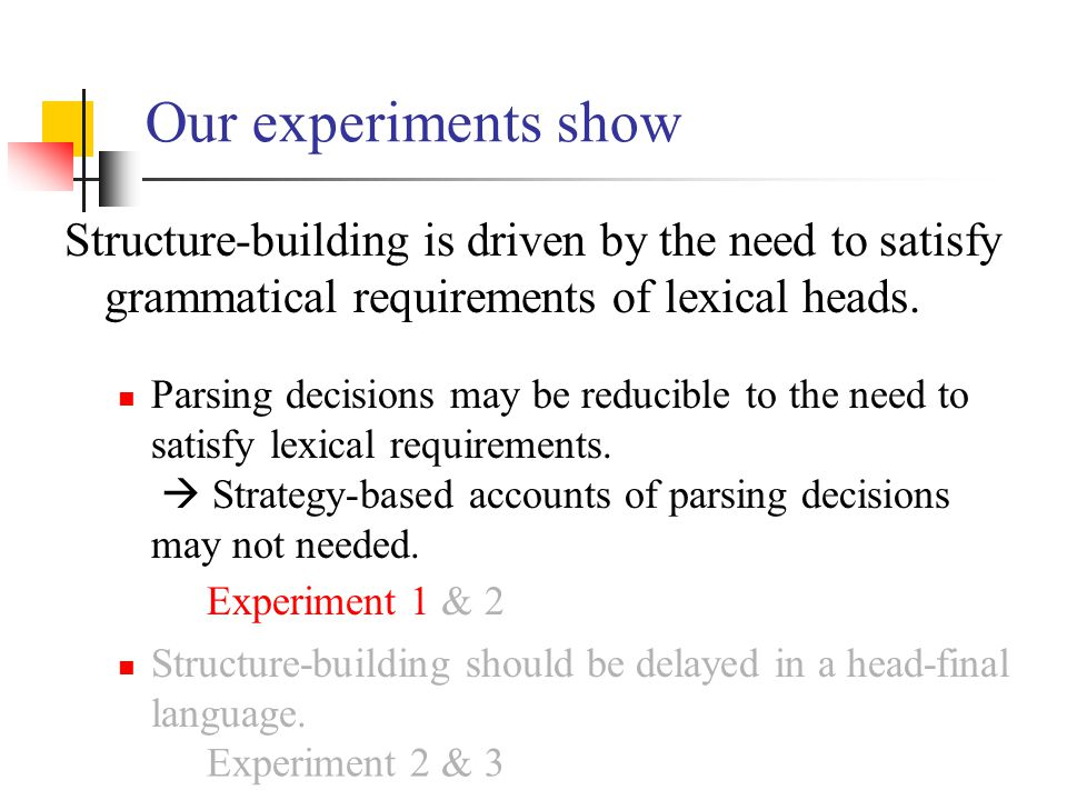 Our experiments show Structure-building is driven by the need to satisfy grammatical requirements of lexical heads.