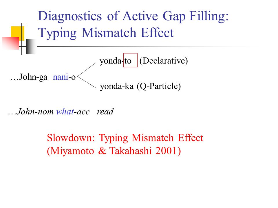Diagnostics of Active Gap Filling: Typing Mismatch Effect …John-ga nani-o yonda-to (Declarative) yonda-ka (Q-Particle) …John-nom what-acc read Slowdown: Typing Mismatch Effect (Miyamoto & Takahashi 2001)