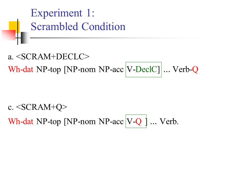Experiment 1: Scrambled Condition a. Wh-dat NP-top [NP-nom NP-acc V-DeclC] … Verb-Q c. Wh-dat NP-top [NP-nom NP-acc V-Q ] … Verb.
