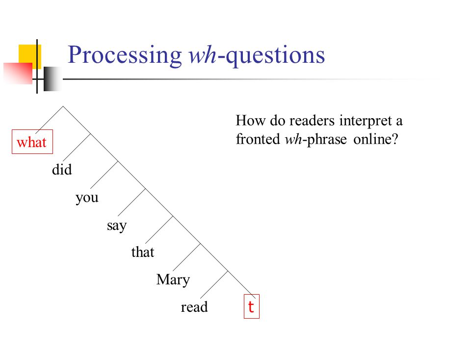 Processing wh-questions what did you say t that Mary read How do readers interpret a fronted wh-phrase online?