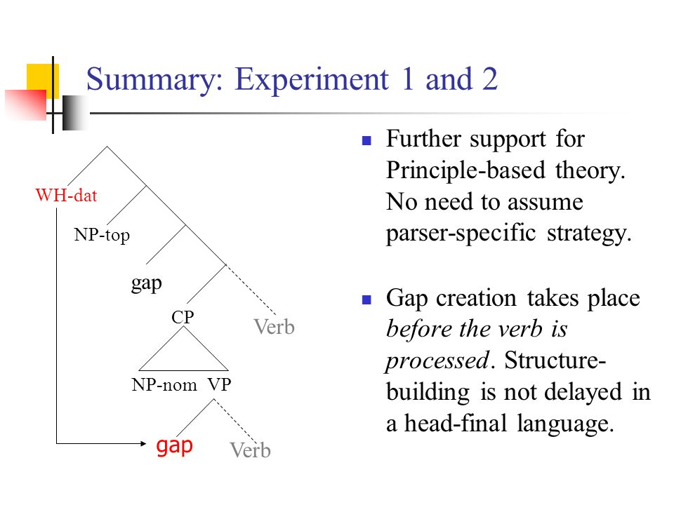 Summary: Experiment 1 and 2 Further support for Principle-based theory.