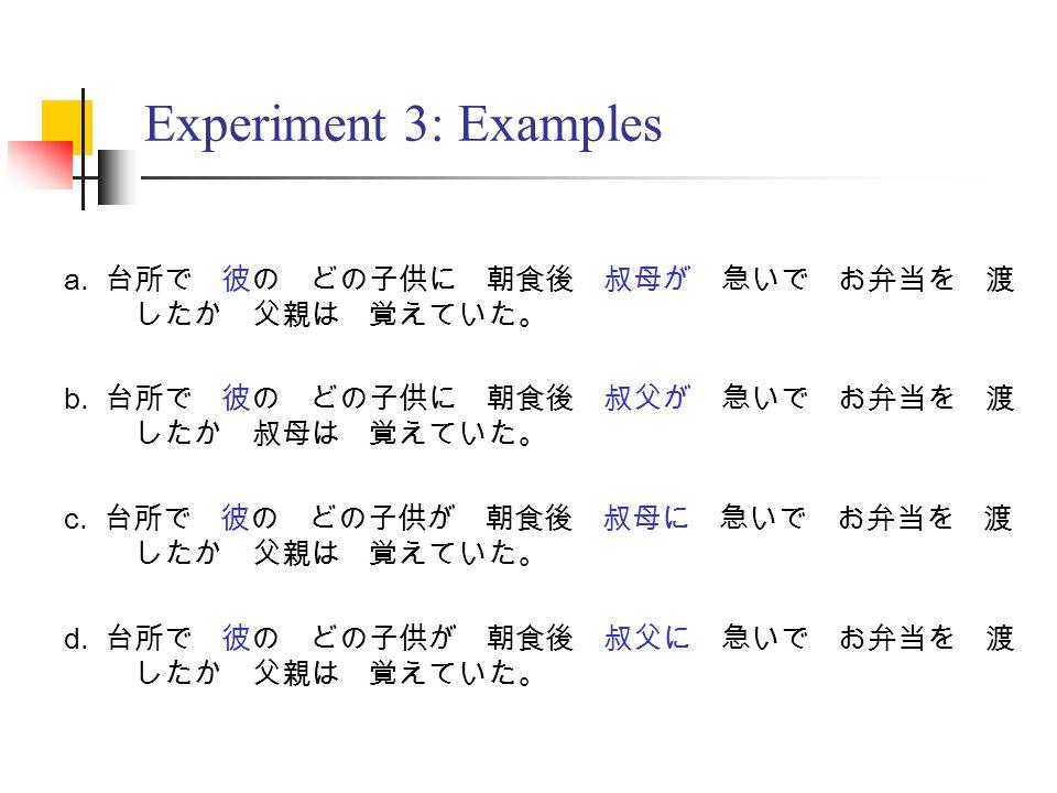 Experiment 3: Examples a. 台所で 彼の どの子供に 朝食後 叔母が 急いで お弁当を 渡 したか 父親は 覚えていた。 b.