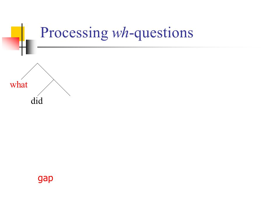 Processing wh-questions what did gap
