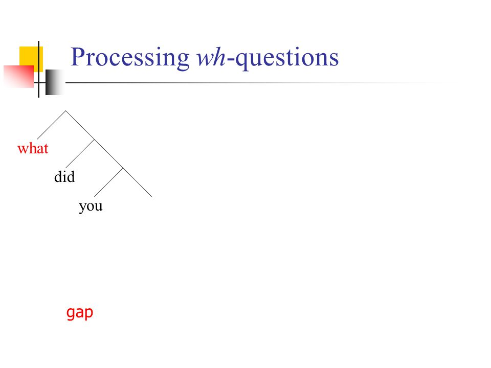 Processing wh-questions what did you gap
