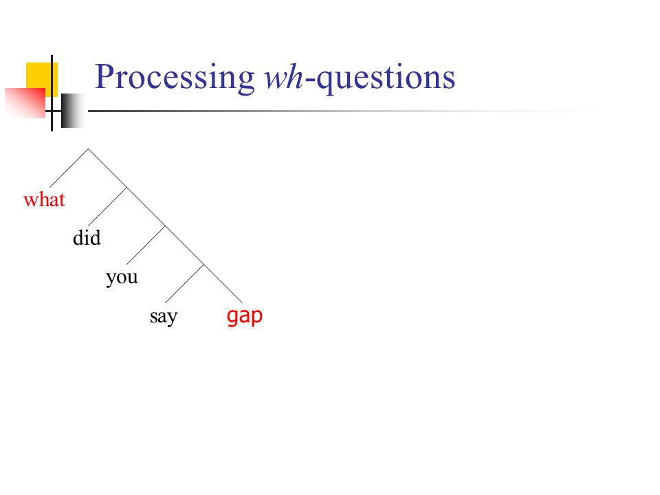Processing wh-questions what did you say gap