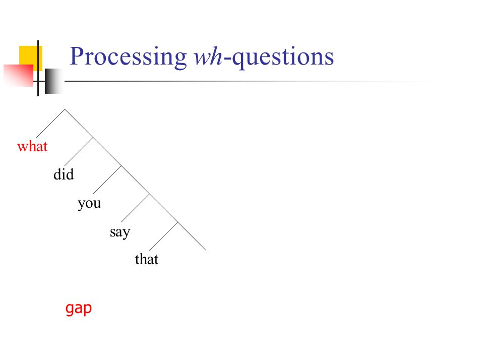 Processing wh-questions what did you say gap that