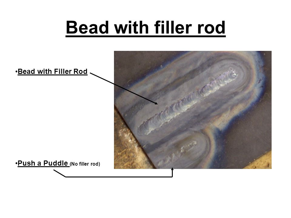 Bead with filler rod Bead with Filler Rod Push a Puddle (No filler rod)