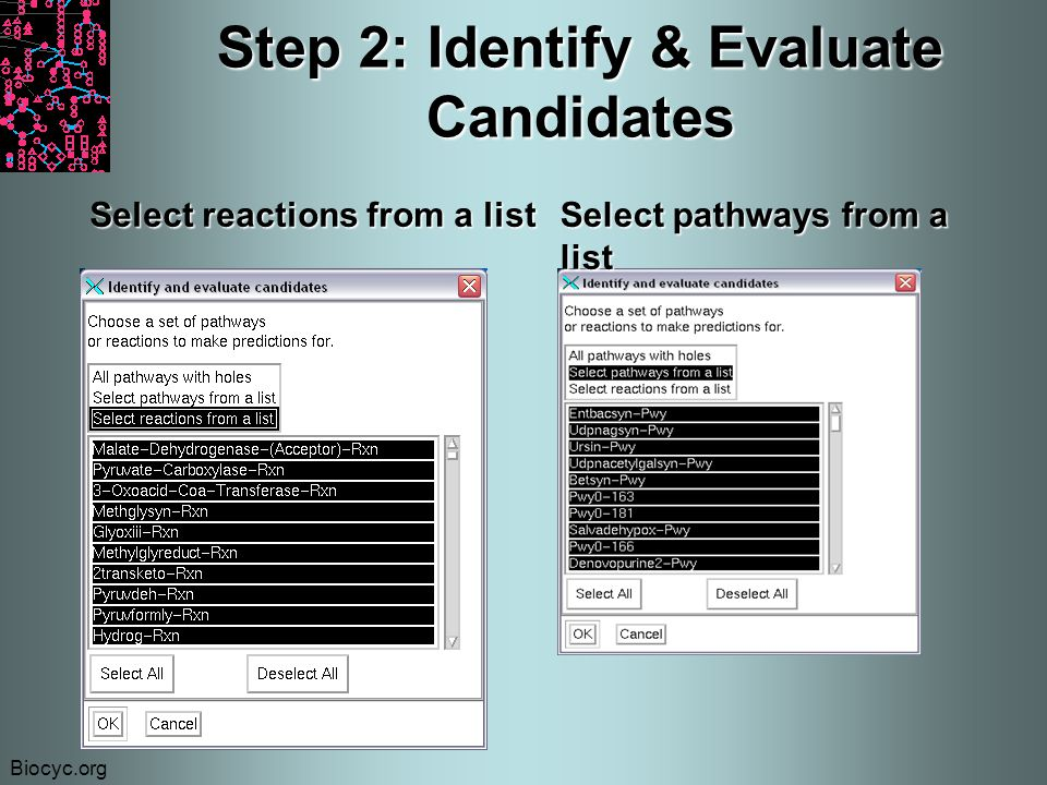 Biocyc.org Step 2: Identify & Evaluate Candidates Select reactions from a list Select pathways from a list