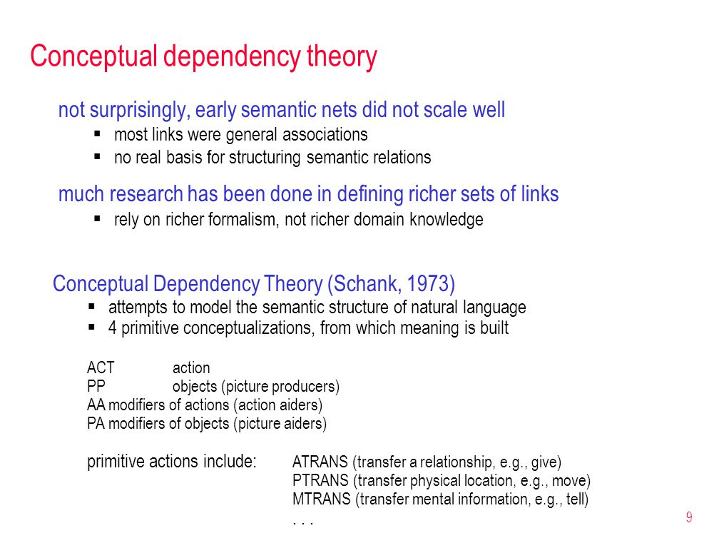 9 Conceptual dependency theory not surprisingly, early semantic nets did not scale well  most links were general associations  no real basis for structuring semantic relations much research has been done in defining richer sets of links  rely on richer formalism, not richer domain knowledge Conceptual Dependency Theory (Schank, 1973)  attempts to model the semantic structure of natural language  4 primitive conceptualizations, from which meaning is built ACTaction PPobjects (picture producers) AAmodifiers of actions (action aiders) PAmodifiers of objects (picture aiders) primitive actions include: ATRANS (transfer a relationship, e.g., give) PTRANS (transfer physical location, e.g., move) MTRANS (transfer mental information, e.g., tell)...