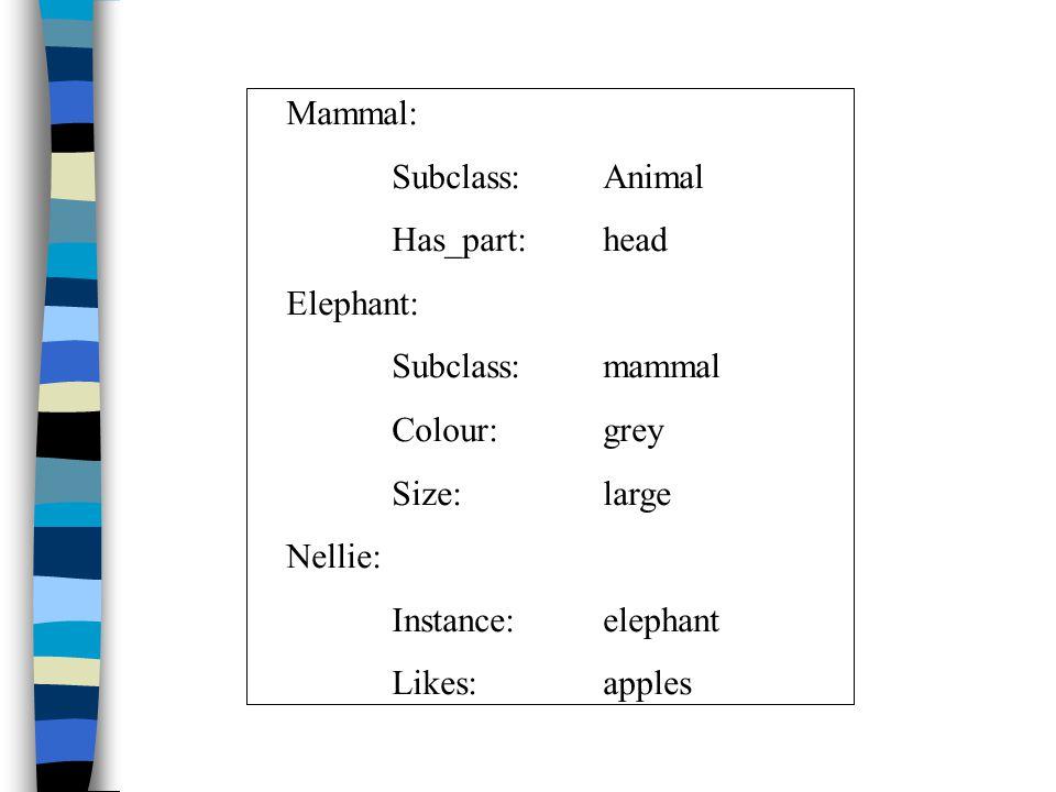 Mammal: Subclass:Animal Has_part:head Elephant: Subclass:mammal Colour:grey Size:large Nellie: Instance:elephant Likes:apples