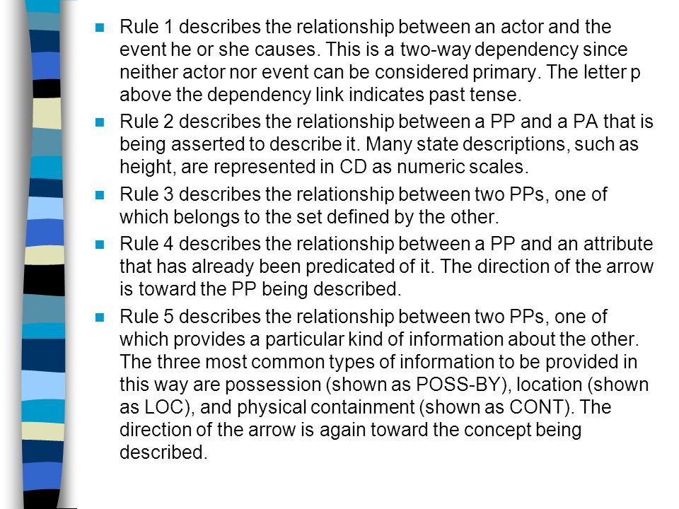 Rule 1 describes the relationship between an actor and the event he or she causes.