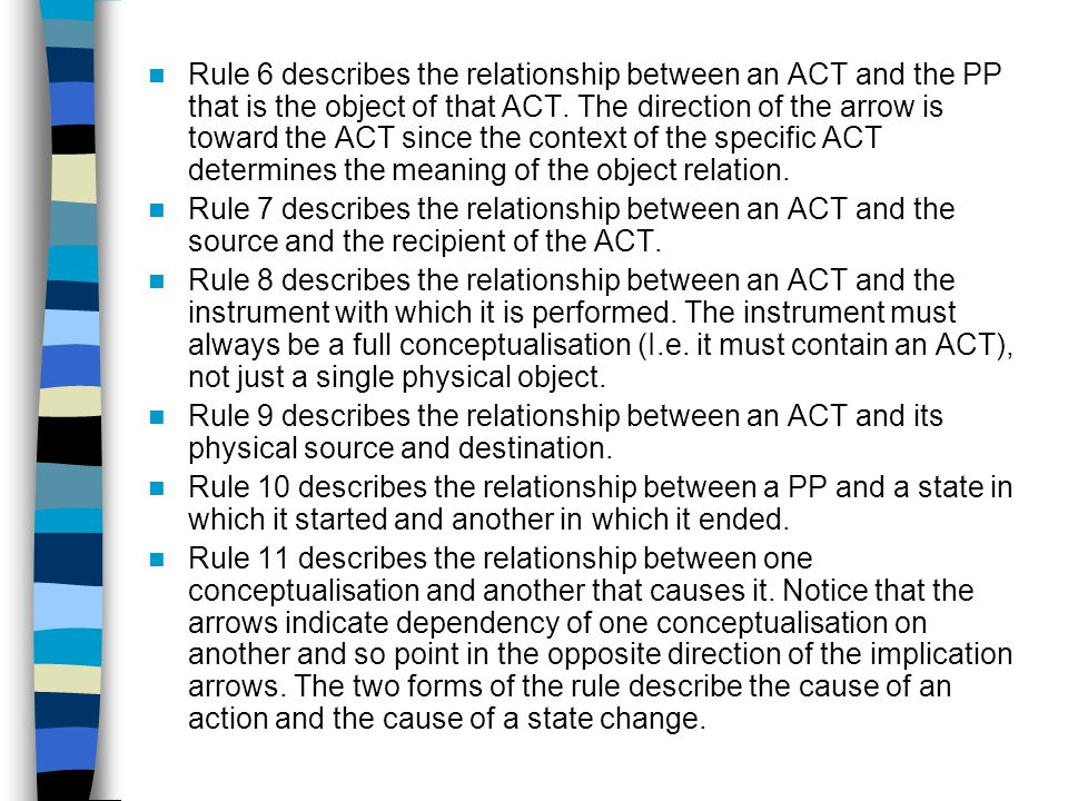 Rule 6 describes the relationship between an ACT and the PP that is the object of that ACT.