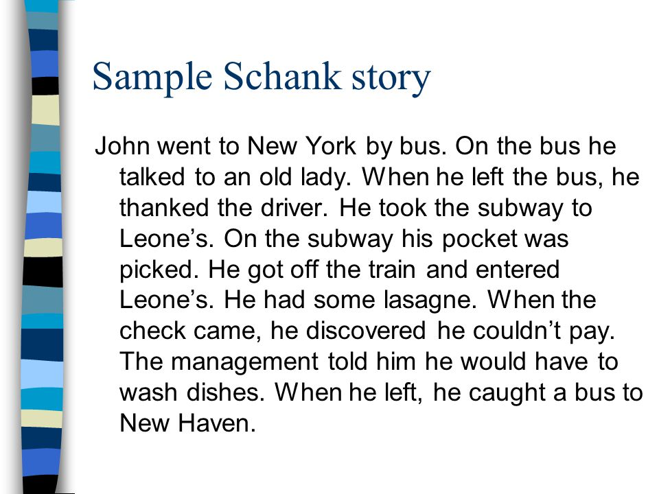 Sample Schank story John went to New York by bus. On the bus he talked to an old lady.