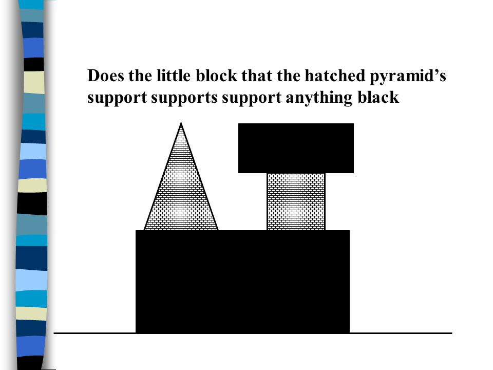 Does the little block that the hatched pyramid's support supports support anything black
