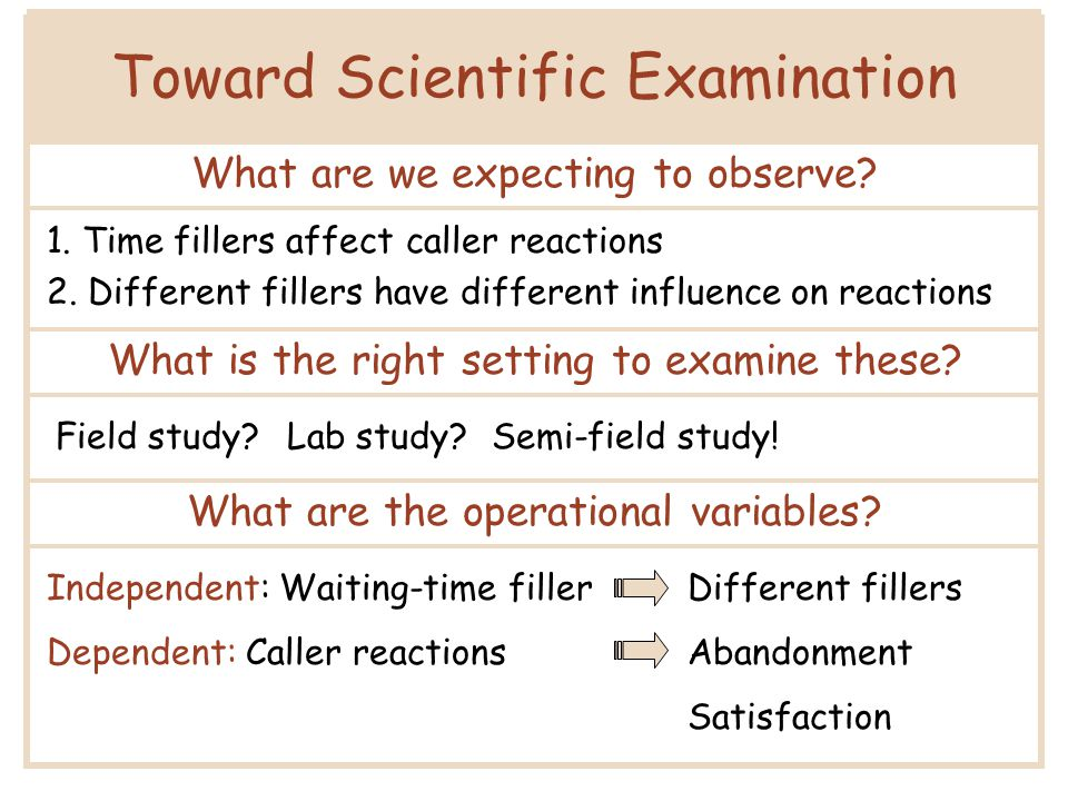 Toward Scientific Examination What are we expecting to observe if sense of progress is the mediator.