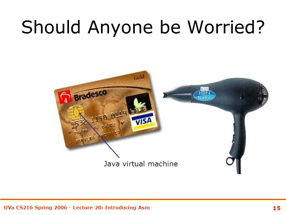 15 UVa CS216 Spring 2006 - Lecture 20: Introducing Asm Should Anyone be Worried? Java virtual machine