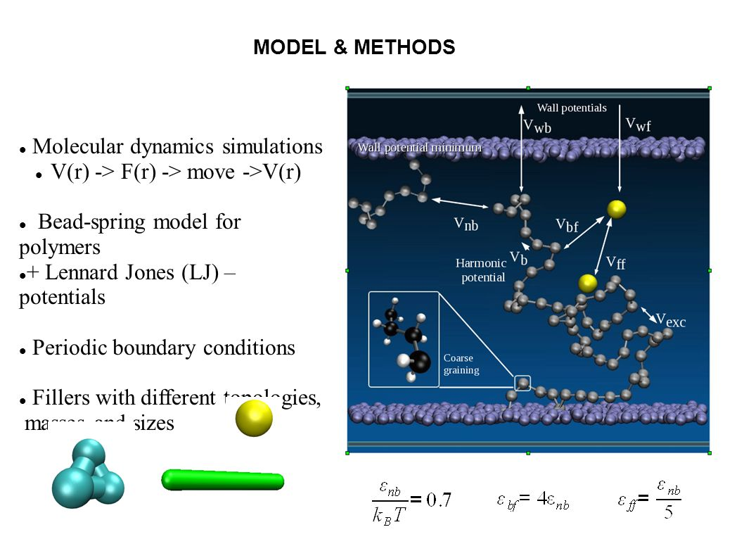Molecular dynamics simulations V(r) -> F(r) -> move ->V(r) Bead-spring model for polymers + Lennard Jones (LJ) – potentials Periodic boundary conditions Fillers with different topologies, masses and sizes MODEL & METHODS