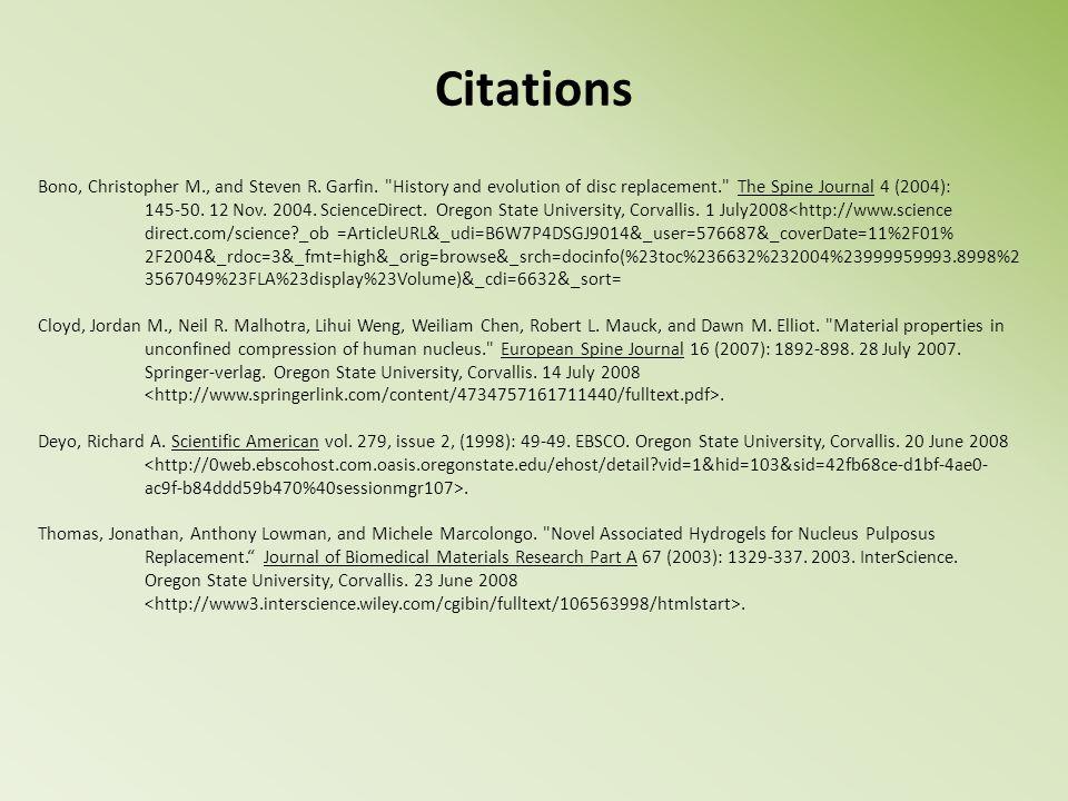 Citations Bono, Christopher M., and Steven R. Garfin.