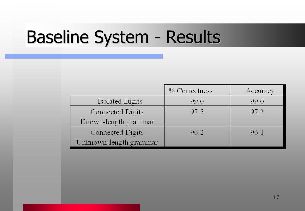 17 Baseline System - Results