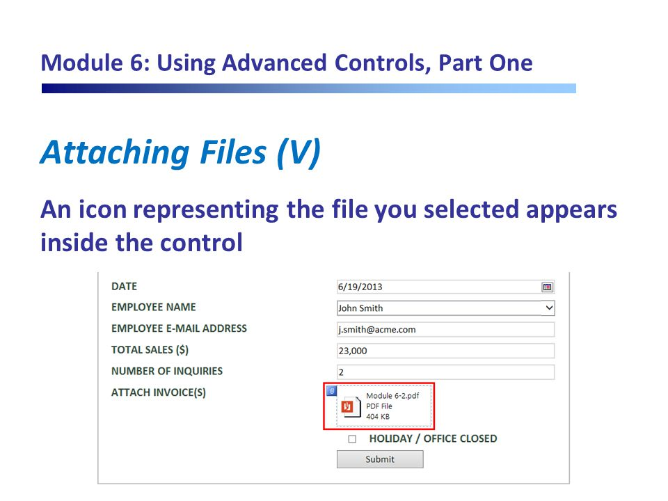Module 6: Using Advanced Controls, Part One Attaching Files (V) An icon representing the file you selected appears inside the control